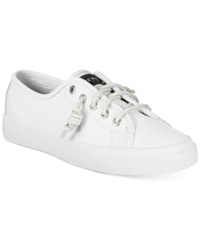 Sperry Top Sider Women's Seacoast Leather Sneakers Women's Shoes White Leather