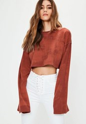 Missguided Red Tie Dye Washed Cropped Sweatshirt