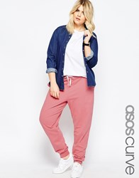 Asos Curve Sweat Pant With Contrast Tie Pink