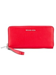 Michael Michael Kors Zip Around Logo Purse Women Calf Leather One Size Red