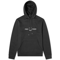 Fred Perry Authentic Embroidered Logo Popover Hoody Black