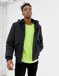 Your Turn Yourturn Bomber Jacket In Black With Borg Lined Hood