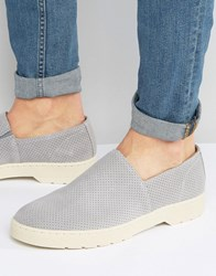 Dr. Martens Dr Plano Suede Perforated Slip On Shoes Grey
