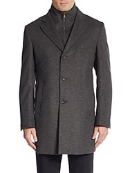 Saks Fifth Avenue Regular Fit Virgin Wool Coat Charcoal