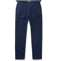 Orlebar Brown Navy Caldwell Tapered Pleated Cotton And Linen Blend Trousers Blue