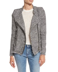 Iro Carlota Asymmetric Tweed Jacket Black White Black White