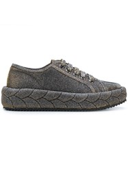 Marco De Vincenzo Padded Lace Up Sneakers Metallic