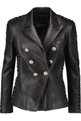 Balmain Embellished Lace Up Leather Jacket Black