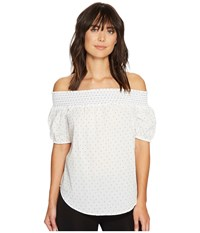 Ivanka Trump Off The Shoulder Dobby Dot Top Ivory Blue Women's Clothing Neutral