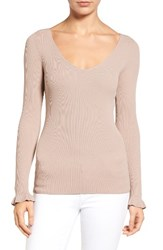 Chelsea 28 Women's Chelsea28 Ribbed V Neck Sweater Tan Memoir