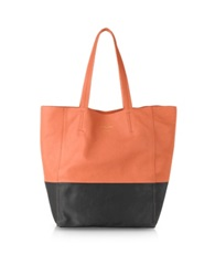 Le Parmentier Large Color Block Nappa Leather Tote Black Coral