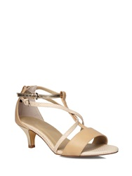 Evans Wide Fit Nude Strappy Kitten Heel Cream