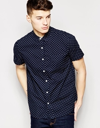Brave Soul Bravesoul Short Sleeve Shirt In Spot Navy