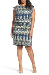 London Times Plus Size Women's Print Jersey Blouson Dress