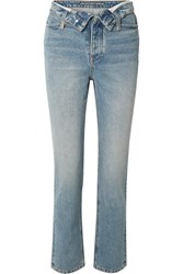 Alexander Wang Cult Flip Fold Over High Rise Straight Leg Jeans Mid Denim