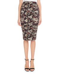 Victoria Beckham Printed Knee Length Pencil Skirt Red Black