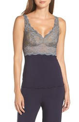 Samantha Chang Built Up Camisole Deep Blue W Steel Lace