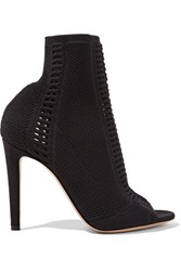 Gianvito Rossi Vires Perforated Stretch Knit Peep Toe Ankle Boots Black