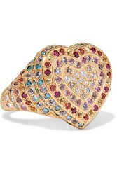 Carolina Bucci Heart 18 Karat Gold Multi Stone Ring 7
