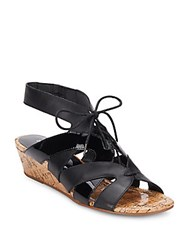 Donald J Pliner Dalie Leather And Patent Leather Lace Up Wedge Sandals Black