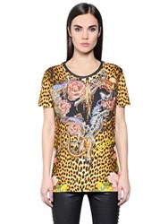 Just Cavalli Leopard Printed Cotton T Shirt