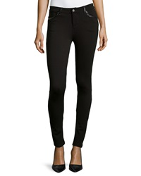P. Luca Faux Leather Trim Knit Jeggings Black