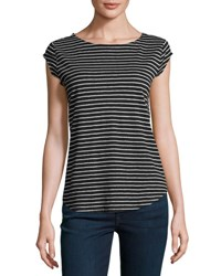 Joie Adelise Striped Cap Sleeve Linen T Shirt Black Black Pattern