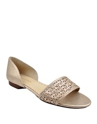 Adrienne Vittadini Arty Leather Peep Toe Flats Gold