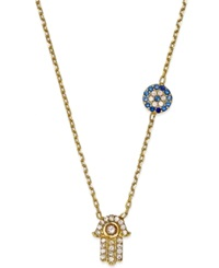 Studio Silver Crystal Hamsa And Evil Eye Necklace In 18K Gold Over Sterling Silver