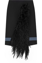 Ungaro Feather Paneled Crepe Skirt Black