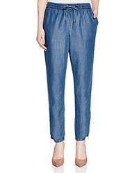 Andrea Jovine Drawstring Chambray Pants Compare At 78 Denim Blue