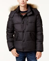 Calvin Klein Men's Faux Fur Lined Hooded Coat Black Melange