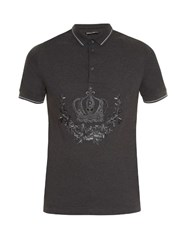Dolce And Gabbana Crown Embroidered Polo Shirt Grey