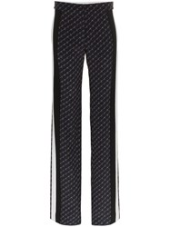 Stella Mccartney Logo Print Wide Leg Trousers Blue