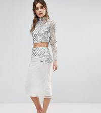 Frock And Frill Embellished Pencil Skirt Co Ord Cream