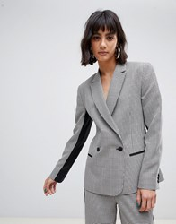 Asos Design Mini Check Suit Blazer With Contrast Side Stripe Multi
