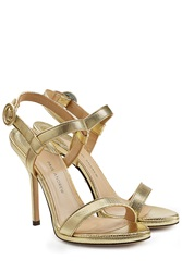 Paul Andrew Leather Stiletto Sandals Gold