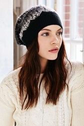 Urban Outfitters Brushed Fair Isle Slouch Beanie Black And White