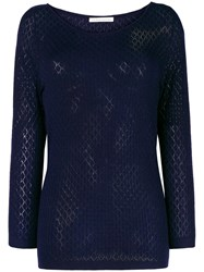 Stefano Mortari Fine Knit Fitted Sweater Blue
