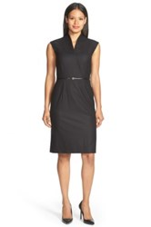 Hugo Boss 'Difena' Belted Plaid Wool Sheath Dress Black