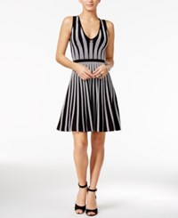 Guess Mirage Striped Fit And Flare Dress Jet Black True White