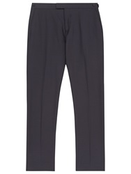 Reiss Point Check Wool Suit Trousers Navy