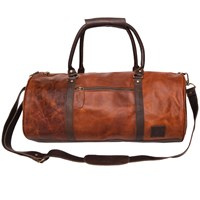 Mahi Leather Weekend Classic Duffle Holdall Overnight Gym Bag In Vintage Brown With Mahogany Detail