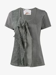 By Walid Jodie Lace And Crochet T Shirt Grey