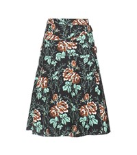 Victoria Beckham Floral Printed Cotton Wrap Skirt Multicoloured