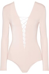 Alexander Wang T By Lace Up Stretch Modal Jersey Bodysuit Blush