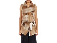 08Sircus Women's Fur Belted Wrap Vest Brown