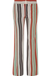 Chloe Striped Cotton Blend Twill Wide Leg Pants Mint
