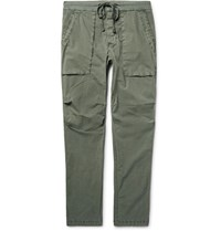 James Perse Slim Fit Stretch Cotton Poplin Trousers Army Green