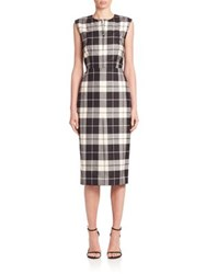 Max Mara Miriam Plaid Wool Sheath Dress Black White